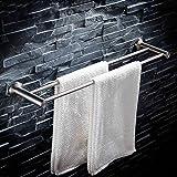 BXGJ Handtuchhalter Bad Handtuchhalter 304 Edelstahl Draht Zeichnung doppelte Handtuchhalter Bad perforierte Handtuch Bar Pole Edelstahl Handtuchhalter (größe : 70cm)