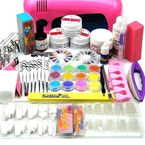 Coscelia 9W UV Secador de la Lámpara Rosa Pegamento del Clavo Polvo de Acrílico del Gel UV Falsa de la Caja Set