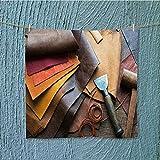 Toalla de ducha de gimnasio de piel para trabajos con herramientas en el escritorio de trabajo de artesanos de cuero para el hogar, hotel y spa, 9.8 pulgadas de ancho x 9.8 pulgadas de ancho