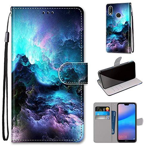 Miagon Flip PU Leder Schutzhülle für Huawei Y6 2019,Bunt Muster Hülle Brieftasche Case Cover Ständer mit Kartenfächer Trageschlaufe,Wolke