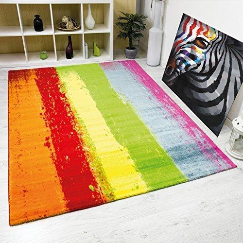VIMODA Teppich Modern Design Kurzflor Multicolor Gestreift in Rot Grün Gelb Maße: 200x290 cm