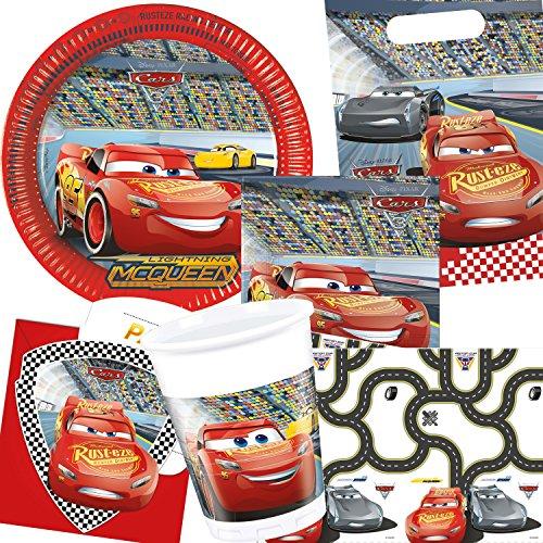 ARS III * mit Teller + Servietten + Becher + Tischdecke + Partytüten + Einladungen + Luftballons und Luftschlangen für Kindergeburtstag // Party Deko Dekoration Kinder Geburtstag Mottoparty Disney (Cars Dekoration)