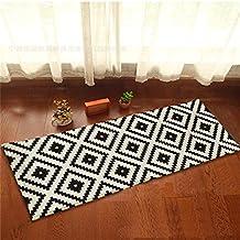 """Beverly módulo de negro y blanco geométrico patrones moda franela Alfombras y alfombras para baño cocina antideslizante alfombra dormitorio porche Felpudo alfombrillas, Verde, 45cmx115cm(17.7""""x45"""")"""