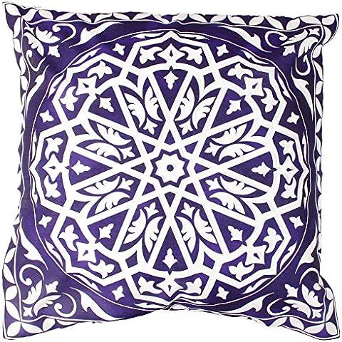 SouvNear Funda de cojín Arte de estilo marroquí - Tire a fundas de almohada - 45x45 Cm - Azul y blanco - hecho a mano decorativo Cuadrado Fundas De Colchón cubierta para Bed Silla Sofá Sofá / Salón