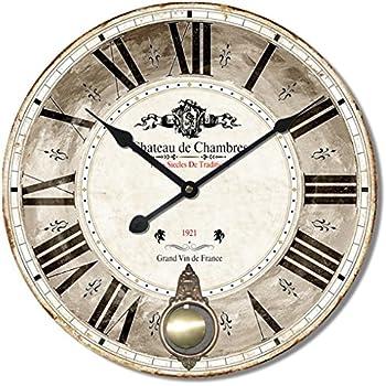 60cm Diam/ètre Grande Horloge murale rustique avec World Map Design