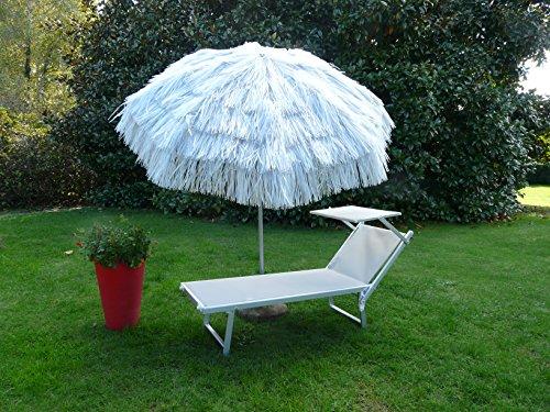 Maffei Art 6 Kenia, Sonnenschirm rund Durchmesser cm 200, mit Bast, Made in Italy. Farbe Silber
