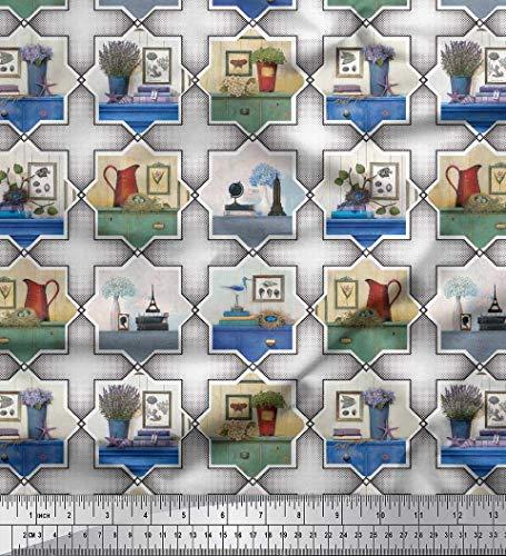 Soimoi Schwarz Kunstseide Stoff Rahmen, Krug & Blumentopf Patchwork Stoff drucken Meter 56 Zoll breit