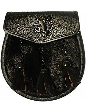 I Luv LTD Sporran Black Synthetic Goat 3 Tassel Black Flap Jet Black Lion Rampant Badge