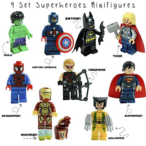 Kid's Corner Productions 9 Superheroes Minifigures Set | Superheroes of Marvel and DC Comics with Tools, Helmet and Stand | Batman, Thor, Hulk, Captain America and many more (9 pieces)