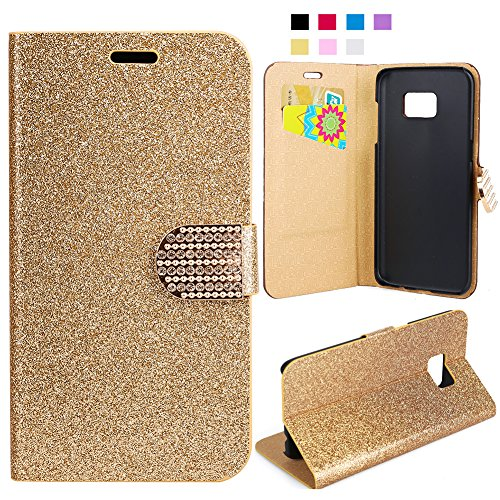 Galaxy S7 Edge Case, FISHBERG Luxury Cover Bling Glitter Magnetic Design Flip Folio PU Leather Stand Up Protective Cover Wallet Case for Samsung Galaxy S7 Edge With ID / Cash / Card Slots (Gold)