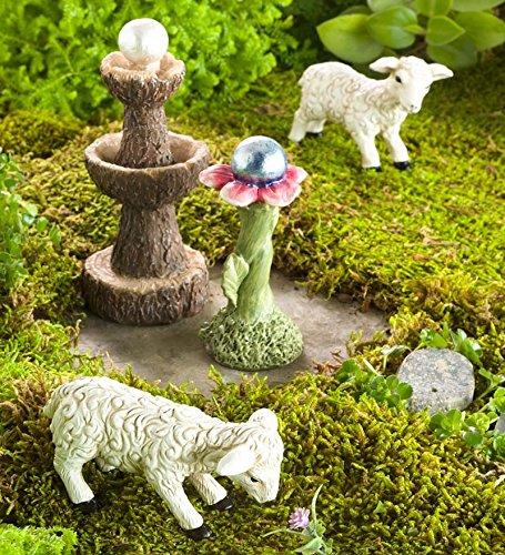 Jardin Féérique miniature de mouton, plume et boule multicolore