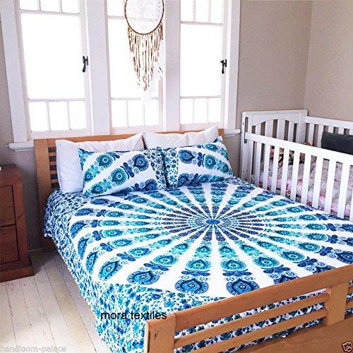 Kiara 3Pcs Mandala Betten Haltung Millionen Romantische Weiche Bettwäsche Quilt Decke Uni Twill Boho Bohemian Bettbezug Set Queen/Twin Größe, Baumwolle, Royal Blue Green Mirchi, Queen (Queen Royal Bettwäsche Blue)