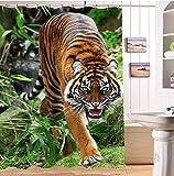 LB Wilder Tiger im Wald 3D Duschvorhang,Wasserdicht Schimmelresistent Kein chemischer Geruch 59 X 72 inch mit 12 Haken, fertig Zum Aufhängen