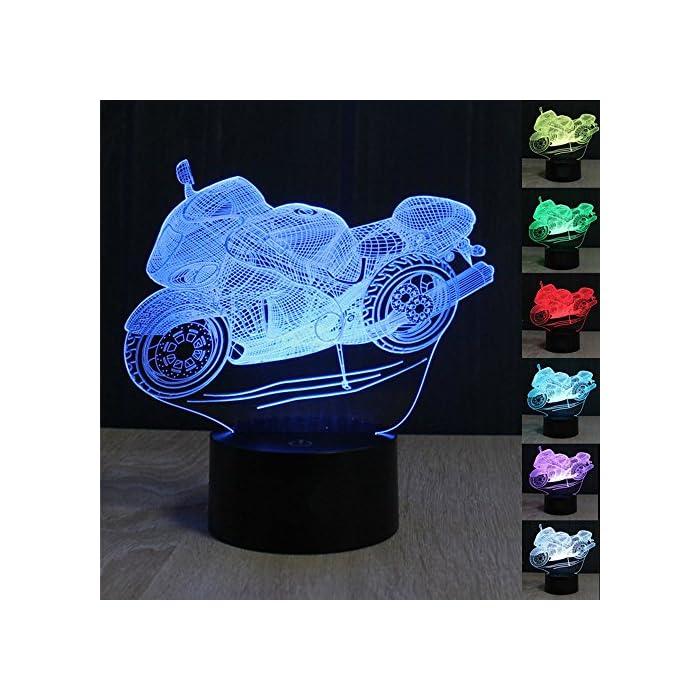 3D Illusion Lampe Motorrad LED Nachtlicht, USB-Stromversorgung 7 Farben Blinken Berührungsschalter Schlafzimmer Schreibtischlampe für Kinder Weihnachts geschenk 1