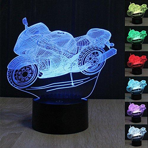 3D Optical Illusion Lampe Motorrad Modell LED Nachtlichter, FZAI Touch Tischlampe Haus Dekoration 7 Farben Einzigartige Lichteffekte zum Kinder Weihnachtsgeschenk