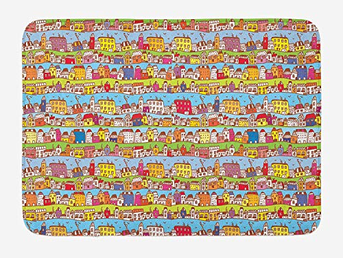ziHeadwear Children's City Map Bath Mat, Town Houses Pattern Cartoon City Architecture with Bird Silhouettes, Plush Bathroom Decor Mat with Non Slip Backing, 29.5 W X 17.5 W Inches, Multicolor (Halloween Town Silhouette)