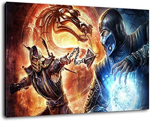120x80 cm Bild auf Leinwand, XXL riesige Bilder fertig gerahmt mit Keilrahmen, Kunstdruck auf Wandbild mit Rahmen (Sonya Mortal Kombat)