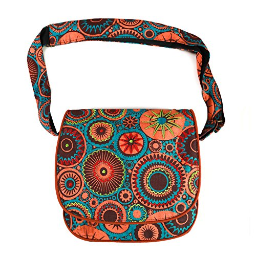 Kunst und Magie Bunte Damen Handtasche Schultertasche mit Stickerei Goa Hippie Orange