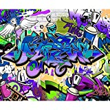 decomonkey | Fototapete Graffiti Street art 400x280 cm XL | Tapete | Fototapeten | Vlies Tapeten | Vliestapete | Wandtapete | moderne Wanddeko Wandbild | Wand Dekoration Schlafzimmer Wohnzimmer | Jugendzimmer Ziegel bunt blau violett