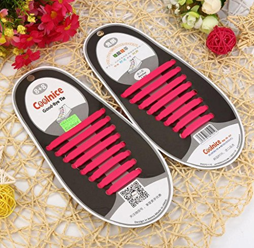 Set Silicone Elástico Sem Unisex Os Laços De Sapato Laço Tênis Todos Rosa 16 Caber Pcs Amcool EwfpFp