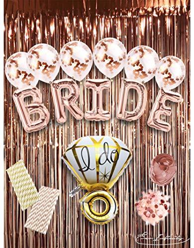 EVERINFINITY Bachelorette Party Dekorationen Set Hochzeit Dusche Deko Kit - Verlobung Party - Braut Folienballon, Ring Folienballon, Konfetti Luftballons, Roségold Folien Fransen Vorhänge