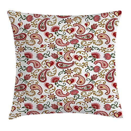 Europäische Paisley-sham (Shower Curtain Paisley Throw Pillow Cushion Cover, Ethnic Style Rose and Swirled Floret Buds Bohemian Lady Feminine Art Print, Decorative Square Accent Pillow Case, 18 X 18 Inches, Red and Pale Pink)