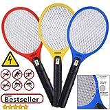 Deuba 3X Elektrische Fliegenklatsche Insektenvernichter | 3er Set Insektenfalle Fliegenfänger |...
