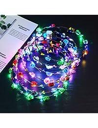 Fascigirl Guirnalda Diadema, Tocado de Flores Corona Floral Luminosa 10 LED Celada para Fiesta