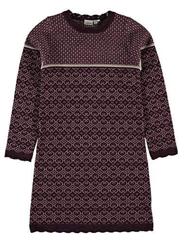 Name it Strickkleid Wollkleid Norweger NITWHOOPIMIX KNIT WOOL DRESS 13138878 prune purple Gr.104