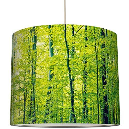 Anna Wand Lampenschirm/Hängelampe Design GRÜNER Wald - Schirm für Lampen mit Wald-Motiv in Grün - Sanftes Licht auch für Tischleuchte oder Stehlampe - ø 40 x 34 cm