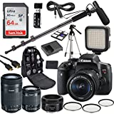 Canon Eos Rebel T6i DSLR Camera Deluxe Video Kit with Canon EF-S 18-55mm,55-250mm, 50mm Prime STM Lenses +Shotgun Microphone Fishing Boom Pole + SanDisk 64GB SD Memory Card + Accessory Bundle