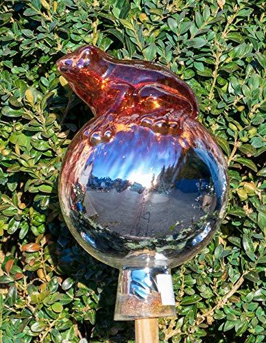ELIAS Glashütte Original Rosenkugel Venezia Frosch auf Kugel 12 cm Kupferrubin verspiegelt