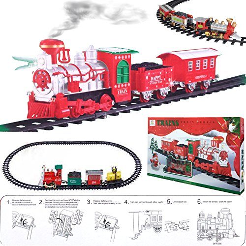 FunkyBuys® Large Christmas Holiday Express Festive Train Set (SI-TY1017) Toy Light / Sounds / Battery Operated & Smoke by FunkyBuys - Zug-christmas Lights