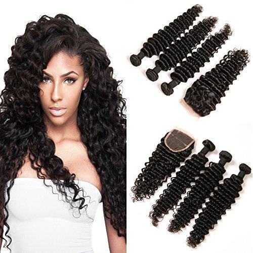 Daimer 100% Vierge Brésilien Cheveux Extension Deep Curly 3 Paquets Bundles de Couleur Naturelle avec 4x4 Fermeture de Lacet 12 14 16 +10 Closure