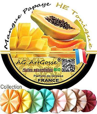 Mangue Papaye Tartelette FONDANT Bio - Aromathérapie - Cire Naturelle
