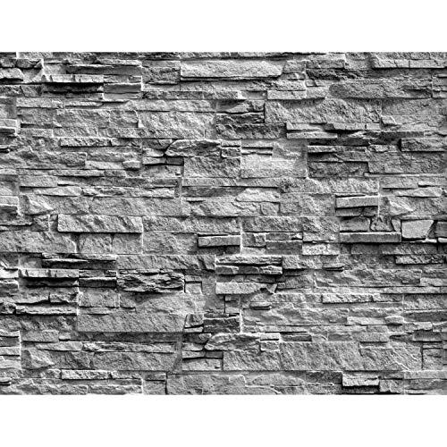 *Fototapeten Steinwand 3D Effekt Grau 352 x 250 cm Vlies Wand Tapete Wohnzimmer Schlafzimmer Büro Flur Dekoration Wandbilder XXL Moderne Wanddeko 100% MADE IN GERMANY Runa Tapeten 9082011c*