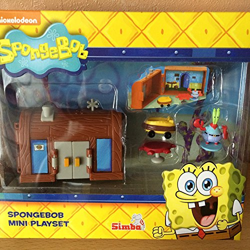 NICKELODEON SPONGEBOB SQUAREPANTS MINI PLAYSET - KRUSTY KRAB HOUSE BURGER SHOP WITH FIGURE & ACCESSORIES by Simba