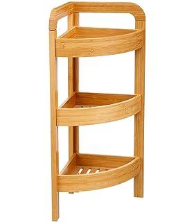 Spetebo Bambus Badezimmer Eckregal mit 3 Ablagen Holz Badregal Standregal Eckregal Holzregal Regal