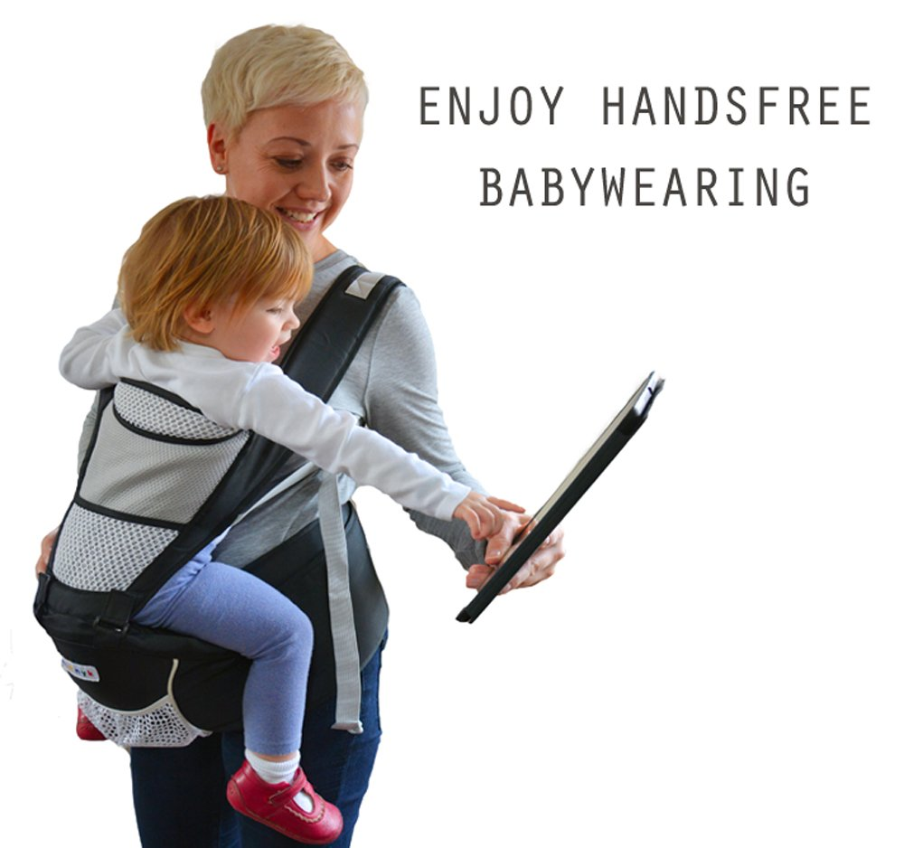 Baby Carrier Hip Seat Sling by NimNik Best Safe Backpack Carriers Back Pain Support (Pearl Black) NimNik ★ NO MORE BACK AND SHOULDER PAIN - NimNik offers an innovation in baby carrying fashion and quality for girls and boys! This Soft Structured Baby Carrier is not only versatile with four different carry positions, but perfectly comfortable for both you and your little one. That twined with unmatched durability makes NimNik Baby Carriers a popular choice in ergonomic baby carriers! ★ DESIGNED FOR STYLE AND COMFORT - With superior padding in our adjustable EXTRA LONG WAIST STRAPS (50 inches / 125 cms) and ergonomic lumbar support for you, say goodbye to backpain and other back, hip and shoulder related carrying issues. With the extremely ergonomic hip seat, you can rest assured that your little one is sitting pretty in style and comfort no matter how you carry! ★ PREMIUM COTTON FOR SOFT AND COSY FEELING - From front facing out and facing in, to hip, to back carry, you'll be comfortable, and so will children. Not every baby likes to be carried the same way, from 6 months and up. Our baby carrier comes with a wide range of comfortable carry positions to use as best suits the both of you, without the back pain after maternity. 10
