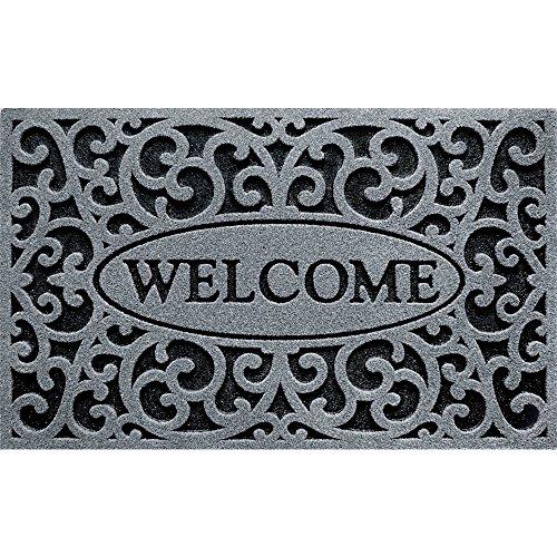 Apache Mills CleanScrape Fußmatte mit keltischem Gittermuster 18-Inch X 30-Inch Welcome Iron/Graphite -