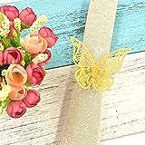 JZK® 50 x Gelbgold Schmetterling Perlenpapier Serviettenringe Tischdekoration Set für Hochzeit Taufe Geburtstag Party Weihnachten Abendessen Serviette Ringe Dekoration (Gelb)