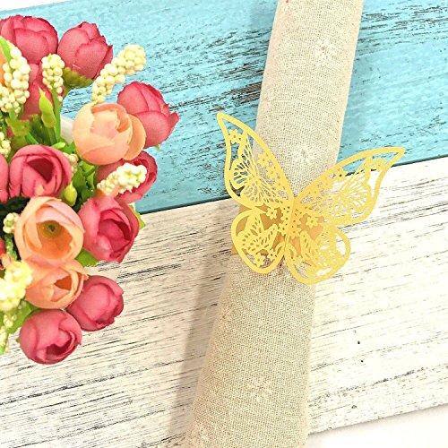 Ring Gelber Schmetterling (JZK® 50 x Gelbgold Schmetterling Perlenpapier Serviettenringe Tischdekoration Set für Hochzeit Taufe Geburtstag Party Weihnachten Abendessen Serviette Ringe Dekoration (Gelb))
