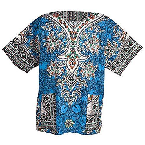 Traditionelle Dashiki (Lofbaz - Unisex Dashiki - Traditionelles Oberteil mit afrikanischem Druck XS Ethnic Blau)