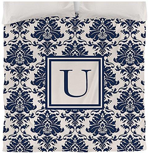 Manuelle holzverarbeiter & Weavers Bettbezug, Queen/Full, Monogramm Buchstabe U, blau Damast -