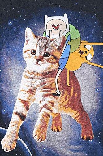 Adventure Time Finn & Jake Cat T-Shirt schwarz Schwarz