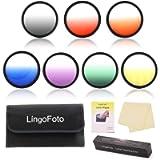 LingoFoto 7 Colors Graduated Color Filters Kit Camera Filter Set for Olympus M.ZUIKO DIGITAL 45mm f/1.8/ ED 14-42mm f/3…