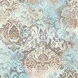 P+S Vintage Queen Vlies Tapete 02496-42 Barock Blau Beige