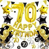 ZERODECO 70ème Anniversaire Décorations, Noir Or Happy Birthday Ballon de Nombre 70 fanions triangulaires Guirlande d'étoiles Table confettis Étoile Ballon en Tourbillons Suspendus Fournitures