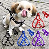 Petlicious & More 15 mm Paw Print Nylon Puppy Harness & Leash Set for Small & Medium Dogs (Color May Vary) - Pack of (Harness + Leash)