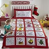 Tony's Textiles Weihnachtliches Bettwäsche-Set in Adventskalender-Optik - Zum Ausmalen - mit auswaschbaren Filzstiften - Rot - UK-Einzelbett